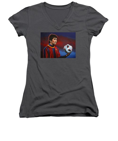 Lionel Messi 2 Women's V-Neck T-Shirt