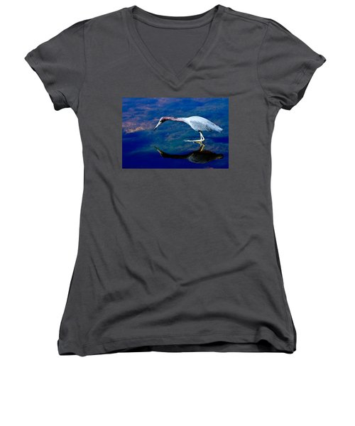 Little Blue Heron Fishing Women's V-Neck