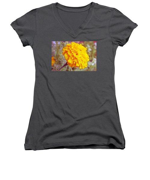 Women's V-Neck T-Shirt (Junior Cut) featuring the photograph Little Golden  Marigold by Kay Novy