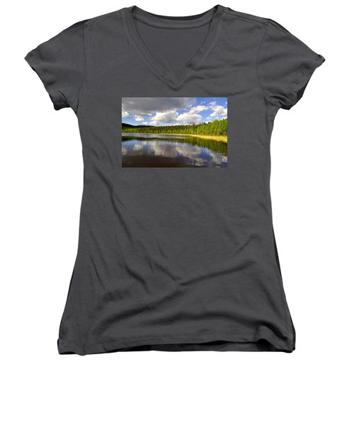 Women's V-Neck T-Shirt (Junior Cut) featuring the photograph Little Lost Lake by Cathy Mahnke