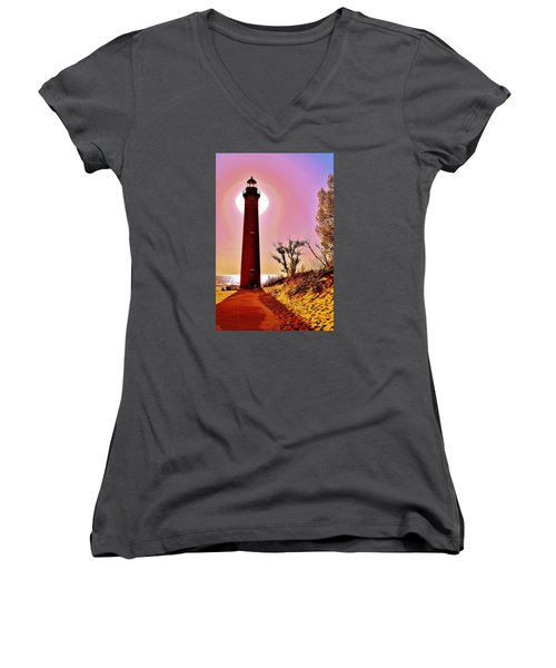 Little Sable Point Lighthouse Women's V-Neck (Athletic Fit)