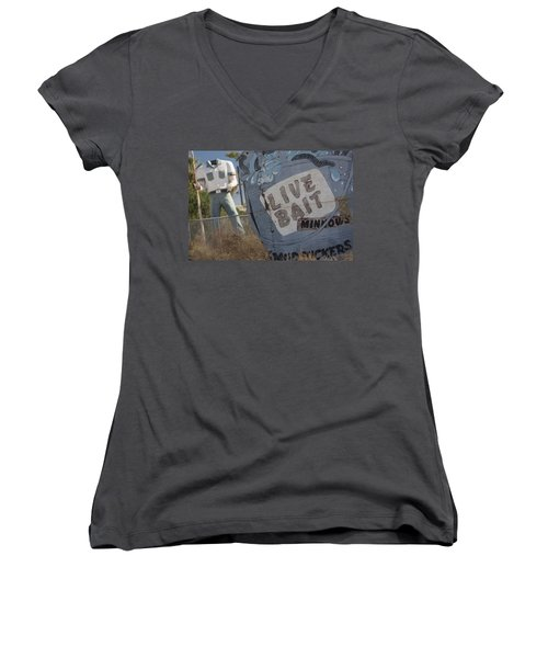 Live Bait And The Man Women's V-Neck
