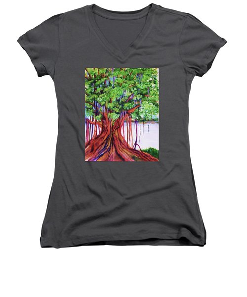 Living Banyan Tree Women's V-Neck T-Shirt