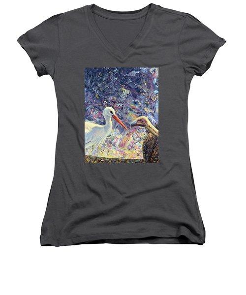 Living Between Beaks Women's V-Neck T-Shirt (Junior Cut)