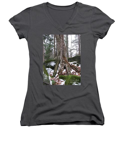 Living Together 2 Women's V-Neck T-Shirt (Junior Cut) by Michael Krek