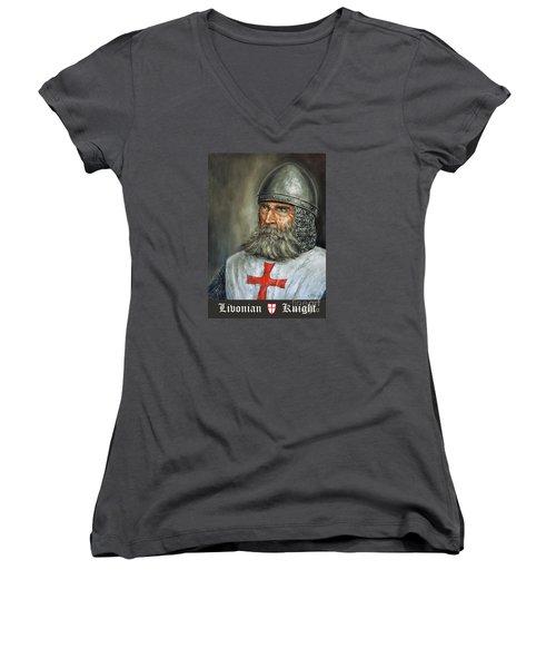 Knight Templar Women's V-Neck T-Shirt (Junior Cut) by Arturas Slapsys