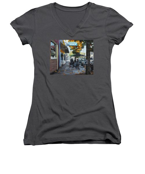 Women's V-Neck T-Shirt (Junior Cut) featuring the painting Local Color by Karen Ilari