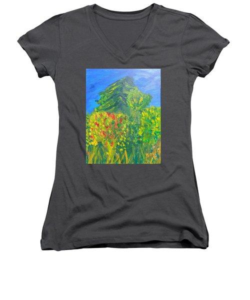 Local Trees Women's V-Neck T-Shirt (Junior Cut) by David Trotter