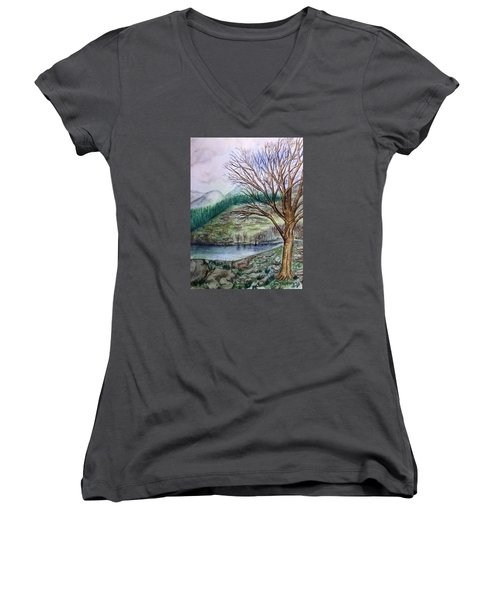 Loch Ard Stirling Overlooking Loch A'ghleannain Women's V-Neck T-Shirt