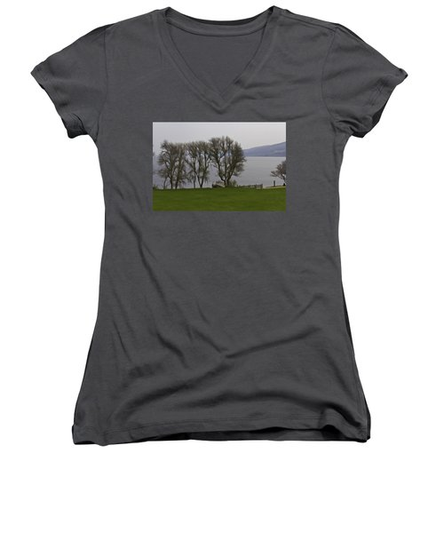 Loch Ness And Boat Jetty Next To Urquhart Castle Women's V-Neck T-Shirt (Junior Cut)