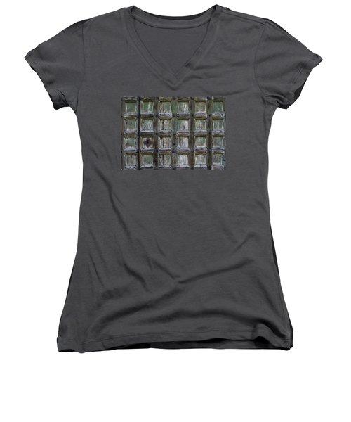 Locked Door Women's V-Neck T-Shirt (Junior Cut) by Ron Harpham