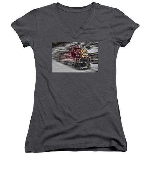 Locomotion Women's V-Neck T-Shirt (Junior Cut) by Ellen Heaverlo