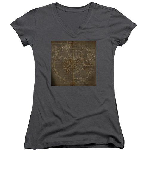 Locomotive Wheel Women's V-Neck T-Shirt (Junior Cut) by James Christopher Hill