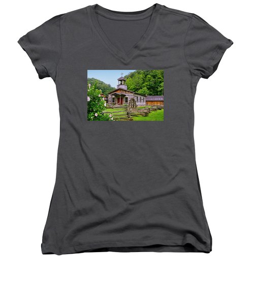 Log Church Women's V-Neck