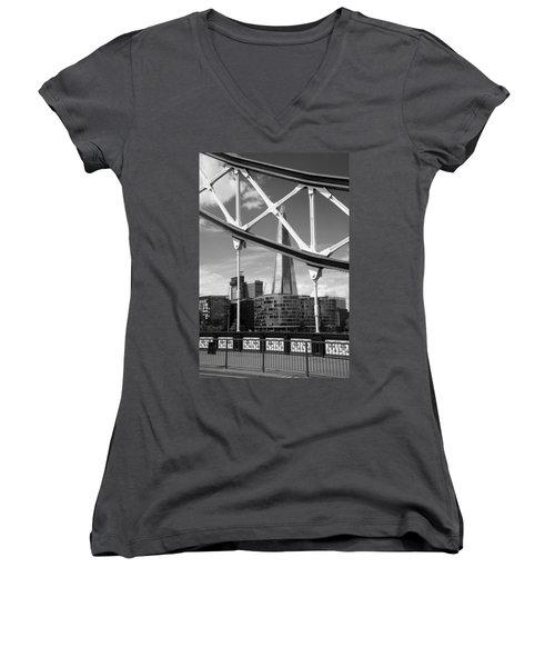 Women's V-Neck T-Shirt (Junior Cut) featuring the photograph London Bridge With The Shard by Chevy Fleet