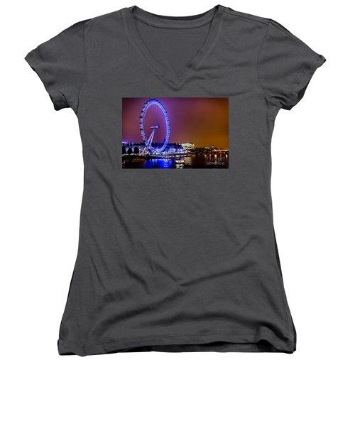 Women's V-Neck T-Shirt (Junior Cut) featuring the photograph London Eye Night Glow by Matt Malloy