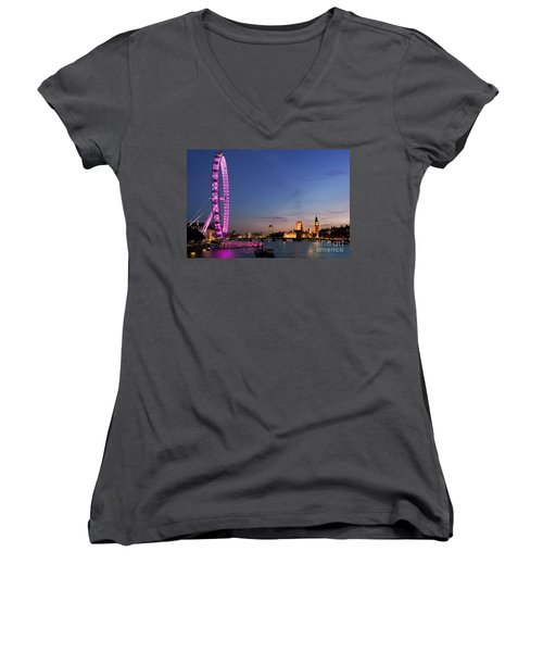 London Eye Women's V-Neck T-Shirt (Junior Cut) by Rod McLean