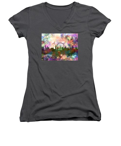 London Skyline Watercolor Women's V-Neck T-Shirt