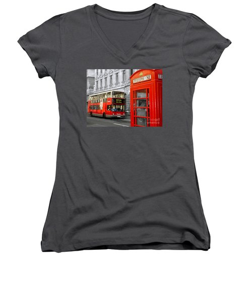 London With A Touch Of Colour Women's V-Neck T-Shirt (Junior Cut) by Nina Ficur Feenan