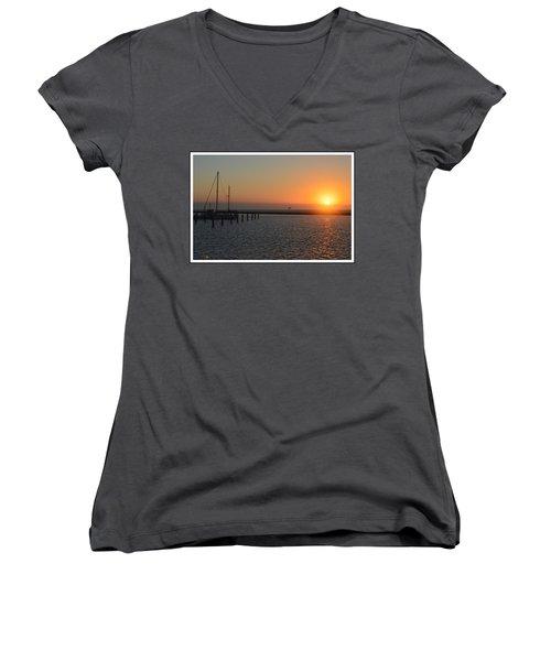Lone Bird At The Marina Women's V-Neck T-Shirt (Junior Cut) by Leticia Latocki