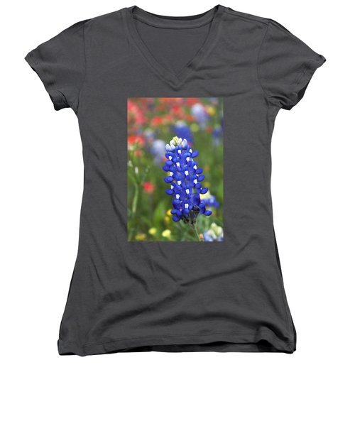 Lone Bluebonnet Women's V-Neck (Athletic Fit)