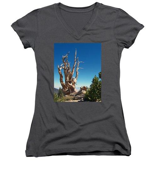 Women's V-Neck T-Shirt (Junior Cut) featuring the photograph Lone Bristlecone by Alan Socolik
