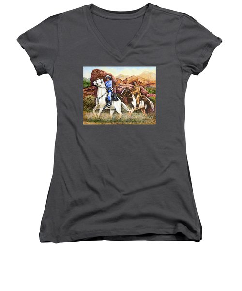 Lone Ranger And Tonto Ride Again Women's V-Neck (Athletic Fit)
