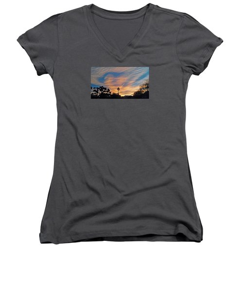 Lone Sentry Morning Sky Women's V-Neck T-Shirt