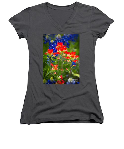 Lone Star Blooms Women's V-Neck (Athletic Fit)