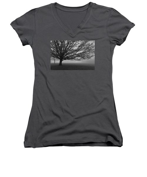 Women's V-Neck T-Shirt (Junior Cut) featuring the photograph Lonely Low Tree by Maj Seda