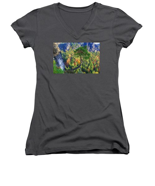 Lonely Tree In The Elbe Sandstone Mountains Women's V-Neck