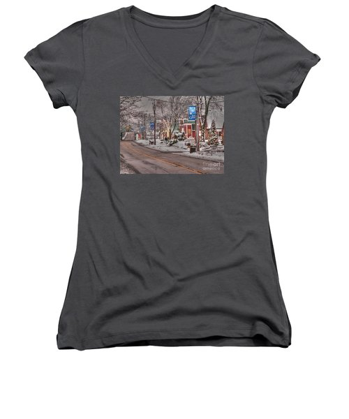 Long Grove In Snow Women's V-Neck T-Shirt