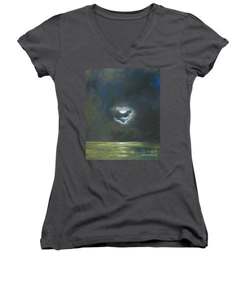 Women's V-Neck T-Shirt (Junior Cut) featuring the painting Long Journey Home by Marlene Book