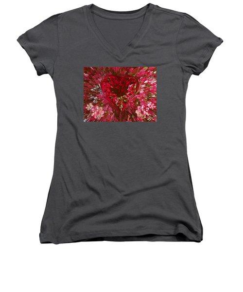 Look Deep Into My Heart Women's V-Neck T-Shirt (Junior Cut) by David Pantuso