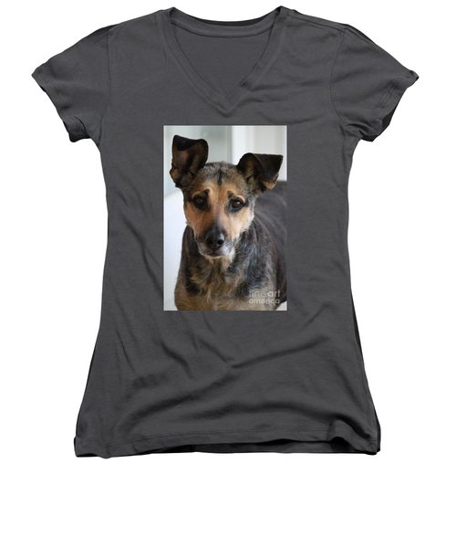 Look In To Her Big Brown Eyes Women's V-Neck (Athletic Fit)