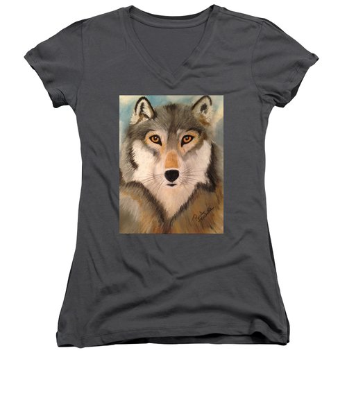 Looking At A Timber Wolf Women's V-Neck T-Shirt