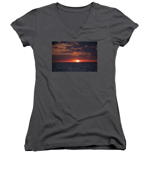 Women's V-Neck T-Shirt (Junior Cut) featuring the photograph Looking Back In Time by Daniel Sheldon