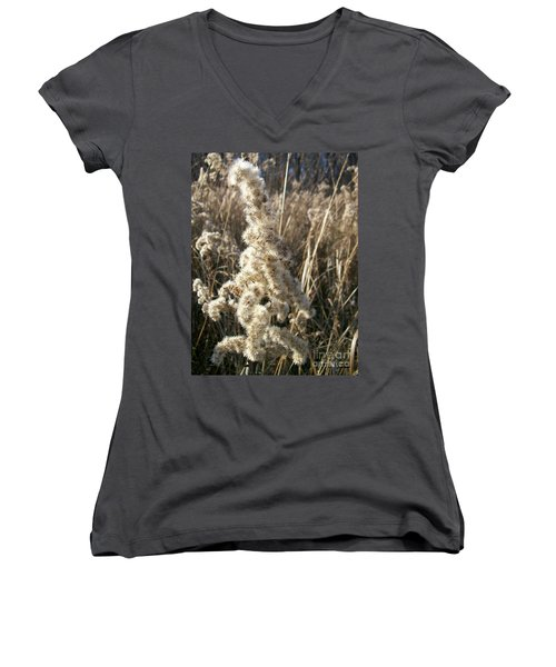 Women's V-Neck T-Shirt (Junior Cut) featuring the photograph Looks Like Cotton by Sara  Raber