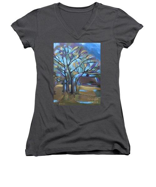 Looks Like Mondrian's Tree Women's V-Neck T-Shirt