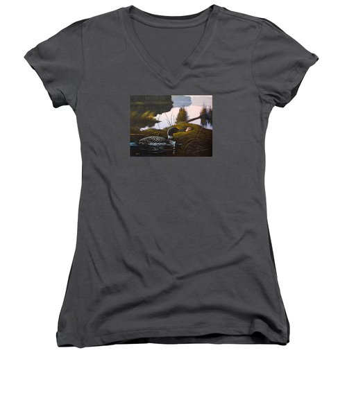 Women's V-Neck T-Shirt (Junior Cut) featuring the painting Loon Lake by Richard Faulkner