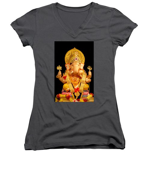 Lord Ganesha Women's V-Neck T-Shirt (Junior Cut) by Kiran Joshi