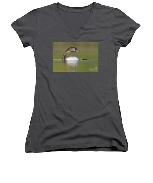 Women's V-Neck T-Shirt (Junior Cut) featuring the photograph Loss-neck Grebe by Bryan Keil