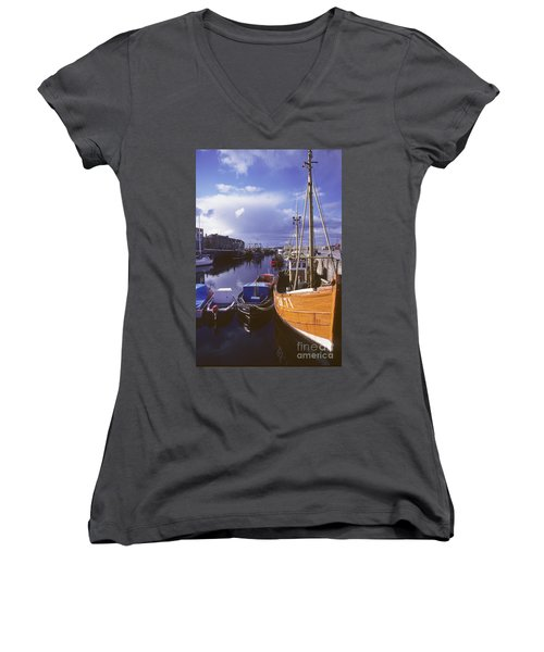 Women's V-Neck T-Shirt (Junior Cut) featuring the photograph Lossiemouth Harbour - Scotland by Phil Banks