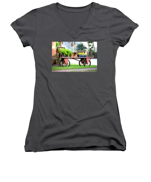 Women's V-Neck T-Shirt (Junior Cut) featuring the photograph Lost Luggage by Gordon Elwell