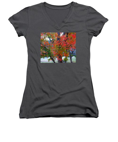 Lost Maples Fall Foliage Women's V-Neck (Athletic Fit)