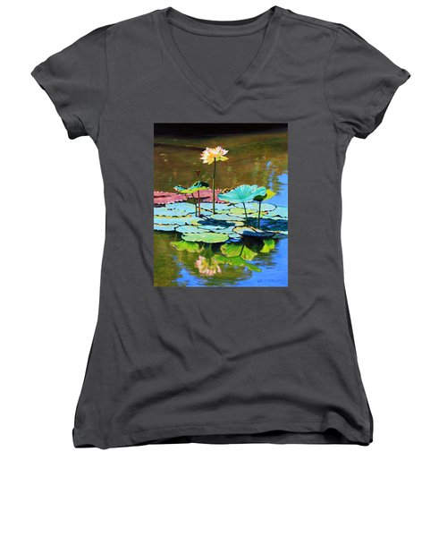 Lotus Above The Lily Pads Women's V-Neck (Athletic Fit)