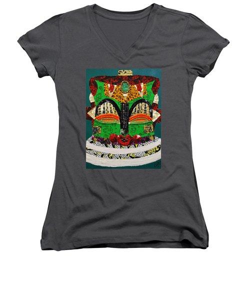 Lotus Warrior Women's V-Neck T-Shirt (Junior Cut) by Apanaki Temitayo M