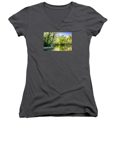 Louisiana Bayou Women's V-Neck T-Shirt (Junior Cut) by Kathleen K Parker