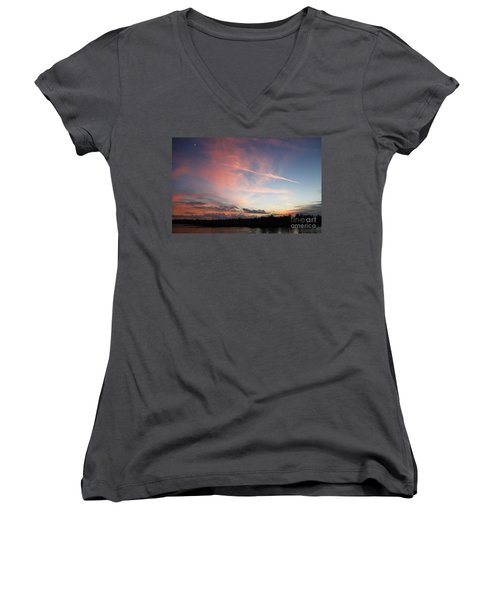 Louisiana Sunset In Lacombe Women's V-Neck T-Shirt