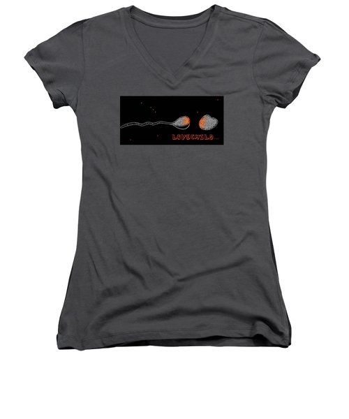 Women's V-Neck T-Shirt (Junior Cut) featuring the drawing Love Child by Cleaster Cotton